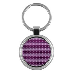 Brick1 White Marble & Purple Leather Key Chains (round)  by trendistuff