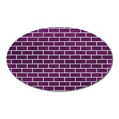 Brick1 White Marble & Purple Leather Oval Magnet by trendistuff