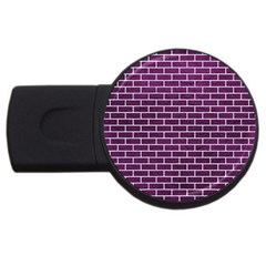 Brick1 White Marble & Purple Leather Usb Flash Drive Round (2 Gb) by trendistuff