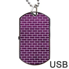 Brick1 White Marble & Purple Leather Dog Tag Usb Flash (two Sides) by trendistuff