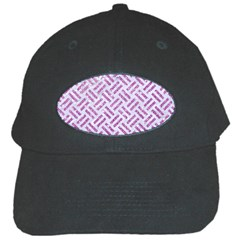 Woven2 White Marble & Purple Glitter (r) Black Cap by trendistuff