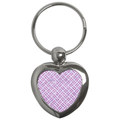Woven2 White Marble & Purple Glitter (r) Key Chains (heart)  by trendistuff