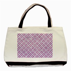 Woven2 White Marble & Purple Glitter (r) Basic Tote Bag by trendistuff
