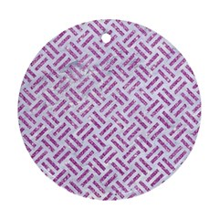 Woven2 White Marble & Purple Glitter (r) Round Ornament (two Sides) by trendistuff