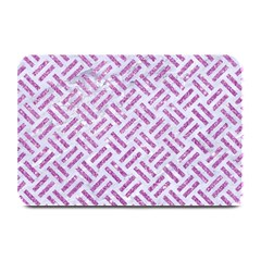 Woven2 White Marble & Purple Glitter (r) Plate Mats