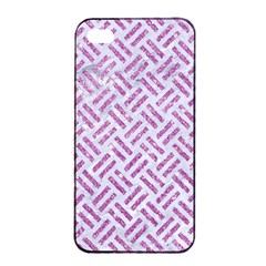 Woven2 White Marble & Purple Glitter (r) Apple Iphone 4/4s Seamless Case (black)