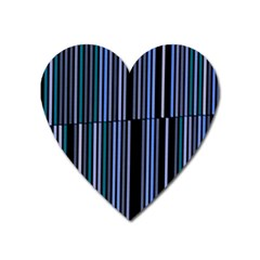 Shades Of Blue Stripes Striped Pattern Heart Magnet by yoursparklingshop