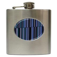 Shades Of Blue Stripes Striped Pattern Hip Flask (6 Oz) by yoursparklingshop