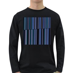 Shades Of Blue Stripes Striped Pattern Long Sleeve Dark T Shirts by yoursparklingshop