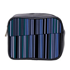 Shades Of Blue Stripes Striped Pattern Mini Toiletries Bag 2 Side by yoursparklingshop