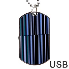 Shades Of Blue Stripes Striped Pattern Dog Tag Usb Flash (one Side)