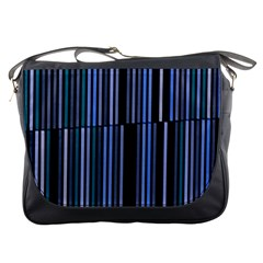 Shades Of Blue Stripes Striped Pattern Messenger Bags by yoursparklingshop