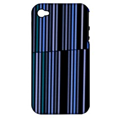 Shades Of Blue Stripes Striped Pattern Apple Iphone 4/4s Hardshell Case (pc+silicone)