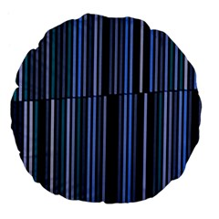 Shades Of Blue Stripes Striped Pattern Large 18  Premium Flano Round Cushions by yoursparklingshop