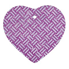Woven2 White Marble & Purple Glitter Heart Ornament (two Sides) by trendistuff
