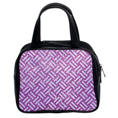 Woven2 White Marble & Purple Glitter Classic Handbags (2 Sides) by trendistuff