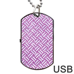Woven2 White Marble & Purple Glitter Dog Tag Usb Flash (one Side) by trendistuff