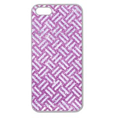Woven2 White Marble & Purple Glitter Apple Seamless Iphone 5 Case (clear) by trendistuff