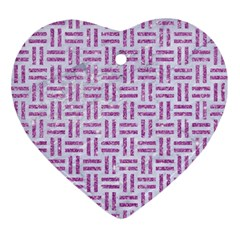Woven1 White Marble & Purple Glitter (r) Ornament (heart)