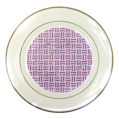 Woven1 White Marble & Purple Glitter (r) Porcelain Plates by trendistuff