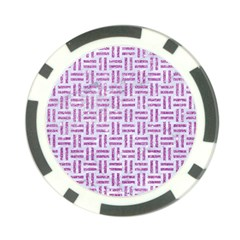 Woven1 White Marble & Purple Glitter (r) Poker Chip Card Guard by trendistuff