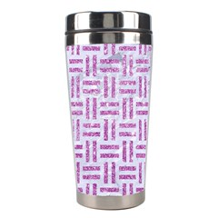 Woven1 White Marble & Purple Glitter (r) Stainless Steel Travel Tumblers by trendistuff