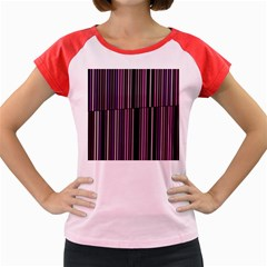 Shades Of Pink And Black Striped Pattern Women s Cap Sleeve T Shirt
