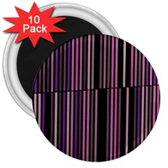 Shades Of Pink And Black Striped Pattern 3  Magnets (10 Pack)