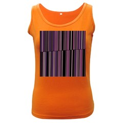Shades Of Pink And Black Striped Pattern Women s Dark Tank Top