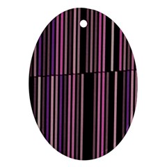 Shades Of Pink And Black Striped Pattern Oval Ornament (two Sides) by yoursparklingshop