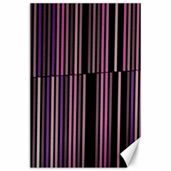 Shades Of Pink And Black Striped Pattern Canvas 24  X 36  by yoursparklingshop