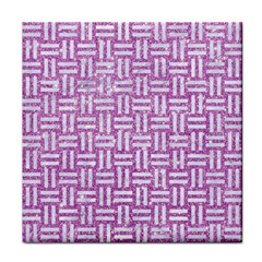 Woven1 White Marble & Purple Glitter Tile Coasters by trendistuff