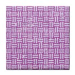 WOVEN1 WHITE MARBLE & PURPLE GLITTER Tile Coasters Front