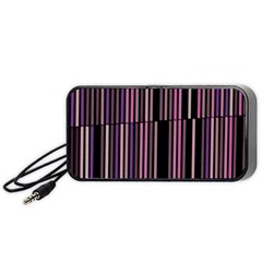 Shades Of Pink And Black Striped Pattern Portable Speaker by yoursparklingshop