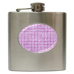 Woven1 White Marble & Purple Glitter Hip Flask (6 Oz)