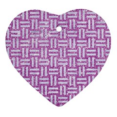 Woven1 White Marble & Purple Glitter Heart Ornament (two Sides) by trendistuff