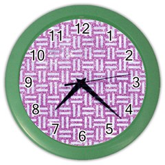 Woven1 White Marble & Purple Glitter Color Wall Clocks by trendistuff
