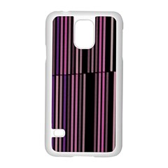 Shades Of Pink And Black Striped Pattern Samsung Galaxy S5 Case (white) by yoursparklingshop