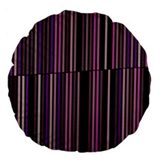 Shades Of Pink And Black Striped Pattern Large 18  Premium Flano Round Cushions by yoursparklingshop