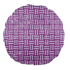 Woven1 White Marble & Purple Glitter Large 18  Premium Flano Round Cushions by trendistuff