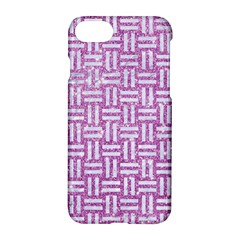 Woven1 White Marble & Purple Glitter Apple Iphone 7 Hardshell Case by trendistuff