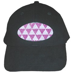 Triangle3 White Marble & Purple Glitter Black Cap by trendistuff
