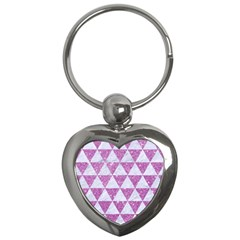 Triangle3 White Marble & Purple Glitter Key Chains (heart)  by trendistuff