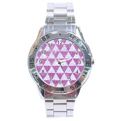 Triangle3 White Marble & Purple Glitter Stainless Steel Analogue Watch by trendistuff