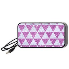 Triangle3 White Marble & Purple Glitter Portable Speaker by trendistuff