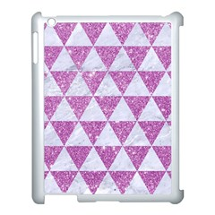 Triangle3 White Marble & Purple Glitter Apple Ipad 3/4 Case (white) by trendistuff