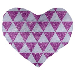 Triangle3 White Marble & Purple Glitter Large 19  Premium Heart Shape Cushions by trendistuff