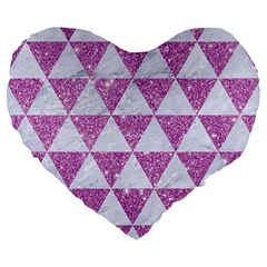 Triangle3 White Marble & Purple Glitter Large 19  Premium Flano Heart Shape Cushions by trendistuff