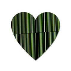 Shades Of Green Stripes Striped Pattern Heart Magnet by yoursparklingshop