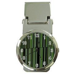 Shades Of Green Stripes Striped Pattern Money Clip Watches by yoursparklingshop